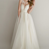 Danielle lace and silk chiffon gown