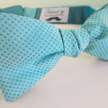 Cotton Candy Blue Bowtie with Teal Silk Reverse