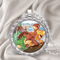 The Land Before Time Little Foot bottle cap Pendant Necklace