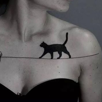 Waterproof Temporary Fake Tattoo Stickers Sexy Black Cats