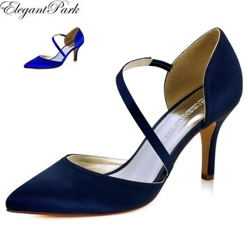 HC1711 Women's High Heel Wedding Bridal Shoes Navy Blue Pointy toe Satin Female Lady Bridesmaid woman Evening Prom Party Pumps