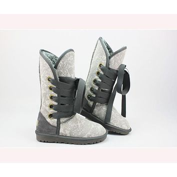 UGG Hight top snow boots ordinary color series Gray - printed