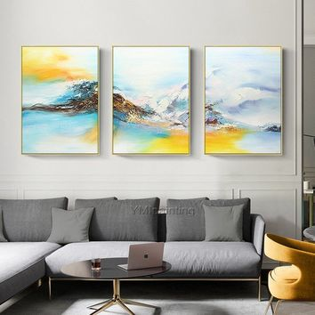 3 pieces Wall Art Abstract acrylic painting on canvas Snow Moutains Original extra Large Pictures for living room Decor Cuadros abstractos