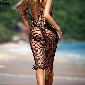 Solid crochet cover ups beads twinkling mesh cover up handmade crochet beach dress mesh beachwear net bodysuit bead cover ups