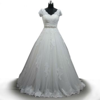 White Lace Wedding Dress Custom Made Lace Embroidery V neck Cap Sleeve Bridal Ball Gown