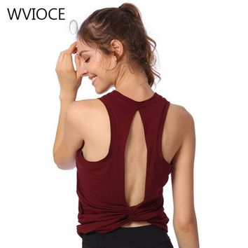 Sexy Women's Open Back Knotted Yoga Top Sports Shirts Workout Gym Tank Tops  Fitness Crop Top Sport T-Shirts Running Sportswear