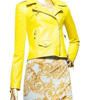 Yellow Leather Biker jacket - $3995