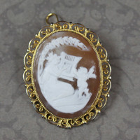 Vintage Italian Gold over 800 Silver Filigree Cameo Brooch and Pendant