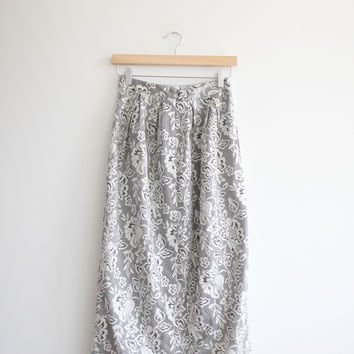 Asos Grey And White Floral Patterned Skirt