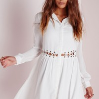 Missguided - Criss Cross Cut Out Skater Dress White