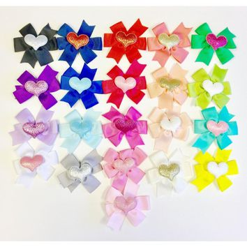 Sweet as Sugar Couture Heart and Bow Hair Clip