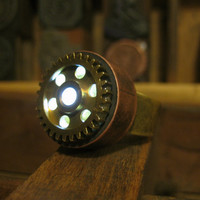 Lighted Flashlight Copper Steam Punk Ring - Adjustable