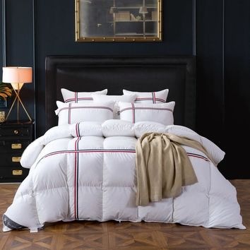 TUTUBIRD Duck/Goose Down Quilted Comforter Duvet Blanket White Striped Winter Warm Quilt with 100% Cotton Cover Twin Queen King