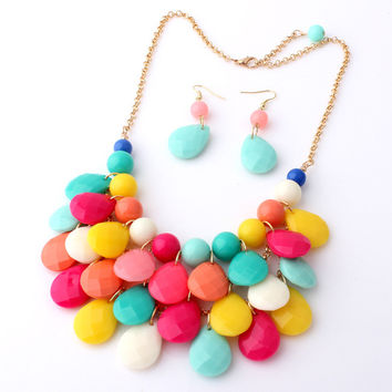 Gift New Arrival Jewelry Shiny Korean Accessory Water Droplets Set Stylish Fashion Hot Sale Necklace [6586377223]