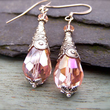Pink Crystal Earrings, Crystal Drop Bead Earrings, Vintage Style, Wedding, Bridesmaid