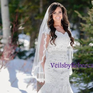 1 tier Fingertip Lace Veil- Elbow Lace Veil-Hip Lace Veil-Short Lace Veil-1 tier Lace Fingertip Wedding Veil-Slim Embroidery Lace Veil V635