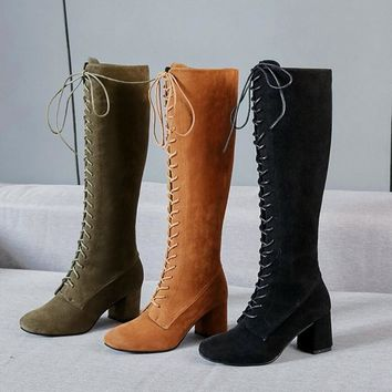 Women Stretch Slim Thigh Coarse High Boots Sexy Fashion Boots Lace Up High Heels Woman Shoes Coarse Heels