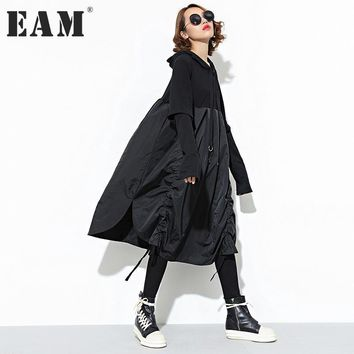 [EAM] 2017 new autumn winter hooded long sleeve solid color black split joint loose dress women fashion tide JD07601