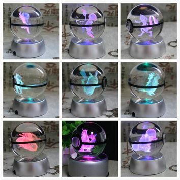 New Style Pokemon Ball With Engraving Crystal Ball For Gift With Led Light