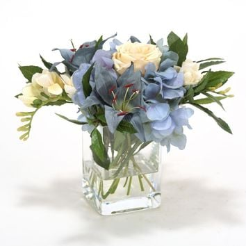 Waterlook (r) Blue Hydrangea, Lily With Cream Rose, Freesia In Glass Vase