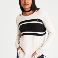 AE Destroyed Cutout-Collar Sweater, Oatmeal