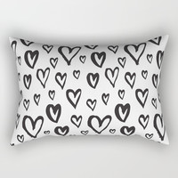 Inky Dinky Hearts Rectangular Pillow by All Is One