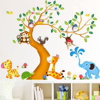 Oversize Jungle Animals Tree Monkey Owl Removable Wall Decal stickers Nursery Room Decor wall stickers for kids rooms