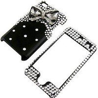 "Apple iPod Touch 4 Snap-on Protector Hard Case Rhinestone Cover ""Smoke Bow Tie on Shiny Black"" Design"