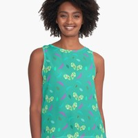'Butterflies and Leaves in Turquoise' Contrast Tank by Carmen Ray Anderson