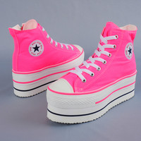 Maxstar CN9 7-Holes Double Platform Sneakers Neon Pink
