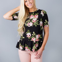 Ruffle Bottom Floral Top