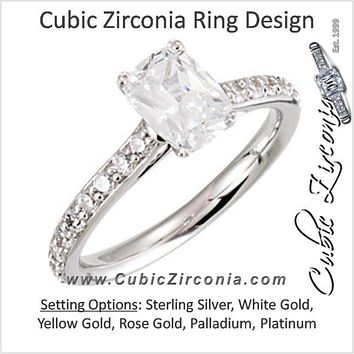Cubic Zirconia Engagement Ring- The Barbie (Antique Cushion Cut Design with Peekaboos)