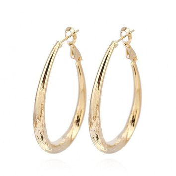 DCCKV2S IPINK Real 18K Gold Filled Lady's Hoop Earrings Big Circle Jewelry