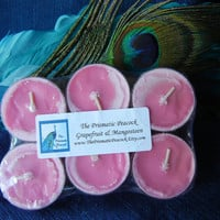 Grapefruit & Mangosteen Scented Soy Tea Light Candles, 6 Pack