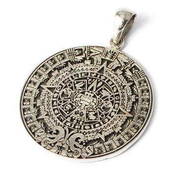 Vietguild's 92.5 Sterling Silver Mayan Calendar Pendant Charm