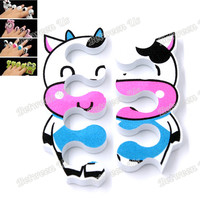 Professional Newest 1 Pair Lovely Nail Art Soft Finger Toe Separator Cartoon Lovely Dairy Cows Pattern Pedicure Manicure Tools