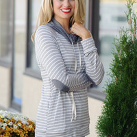 Damica Elbow Patch Stripe Cowl Neck Top: Heather Grey