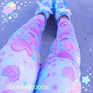 Conversation Candy Heart Leggings, Fairy Kei Leggings, Convo Hearts Tights, Candy Hear