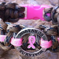 550 Paracord Camo BREAST CANCER AWARENESS Survivor Bracelet