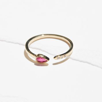 Free People 14k Ruby Astral 3 Diamond Ring