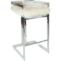 Worlds Away Hearst Mongolian Fur with Nickel Bar Stool