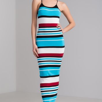 AKIRA Ribbed Knit Bodycon Criss-Cross Strappy Striped Maxi Dress in Red Blue