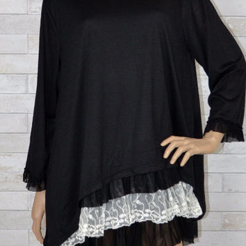 Sassy Bling Layer Look Long Ruffle Tunic Plus Dress - Black