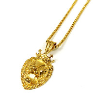 Stainless Steel Gold Crowned Lion Necklace