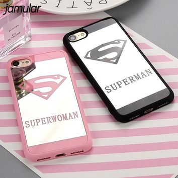 JAMULAR Superman Superwoman Mirror Surface Case For iPhone X 8 7 Plus 5s SE Back Cover for iPhone 6s 6 7 Plus Cases Coque Fundas