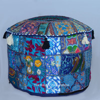 "22"" Blue Vintage Bohemian Patchwork Round Indian Pouf Ottoman on RoyalFurnish.com"