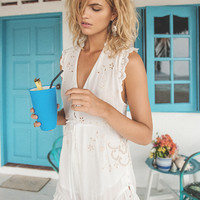 Isla Bonita Embroidered Romper - White