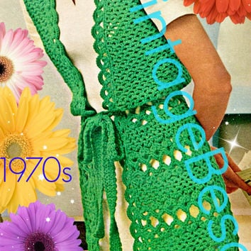 Vest Crochet Pattern Vintage 1970s Vest Jacket Crochet Pattern Long Vest Coat Pattern Instant Download PdF Pattern