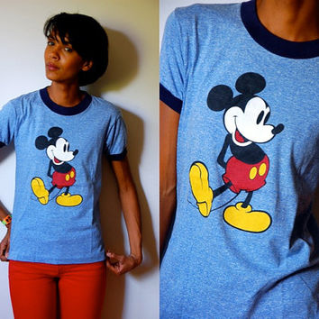 Vtg Mickey Mouse Classic Blue Navy Trimmed SS Cotton Shirt