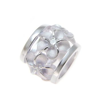 STERLING SILVER 925 HAWAIIAN PLUMERIA FLOWER BARREL TUBE SLIDE PENDANT CZ 9MM